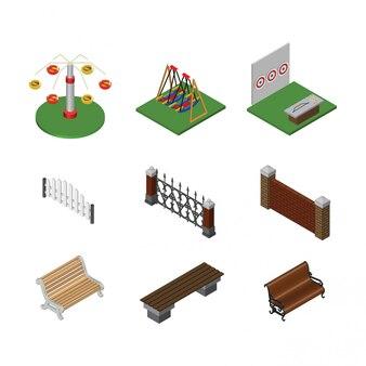 Paisaje urbano de elementos isométricos