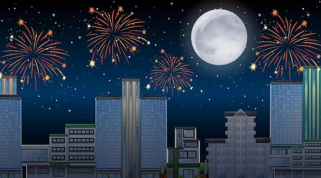 Paisaje urbano con escena de fuegos artificiales de celebración.