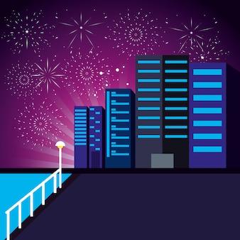 Paisaje urbano de escena con fuegos artificiales