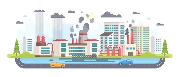 Paisaje urbano con fábrica - ilustración de vector de estilo moderno diseño plano sobre fondo blanco. una composición con una gran planta productora de emisiones de sustancias peligrosas. aire, concepto de contaminación del agua