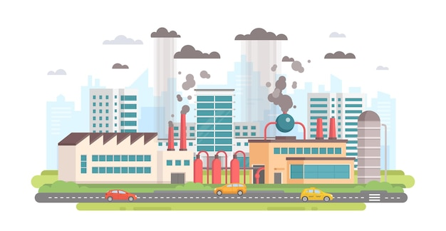 Paisaje urbano con una fábrica - ilustración de vector de estilo moderno diseño plano sobre fondo blanco. una composición con una gran planta que produce emisiones de sustancias peligrosas con tuberías. concepto de contaminación del aire