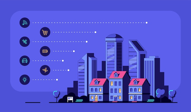 Paisaje urbano con iconos y casas residenciales modernas.
