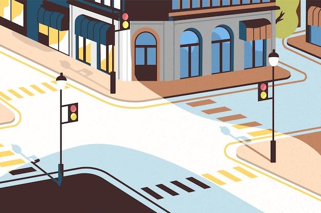 Paisaje urbano con intersección de calles, edificios elegantes, cruce con semáforos y pasos de cebra o cruces peatonales