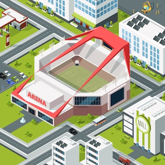 Paisaje urbano isométrico con edificio moderno del estadio.