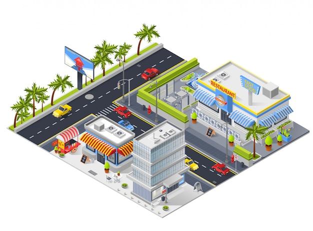 Paisaje urbano isométrico con restaurante de calle