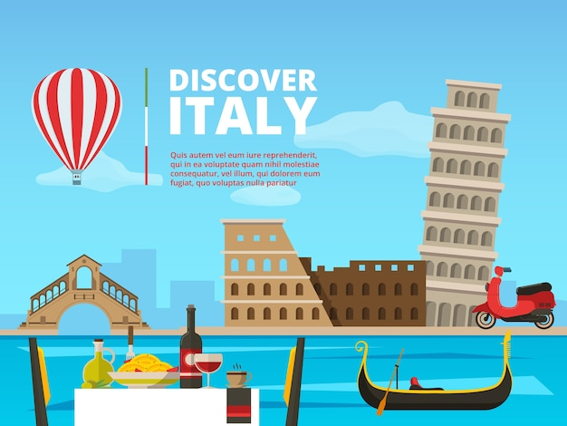 Paisaje urbano de italia roma. símbolos y objetos arquitectónicos históricos. arquitectura italia paisaje ilustración