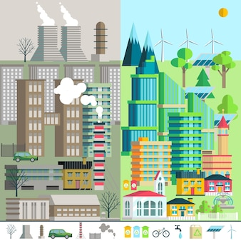 Paisaje urbano, medio ambiente, ecología, elementos de la infografía.