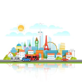 Paisaje urbano moderno con diferentes vehículos. ilustracion vectorial concepto de viaje