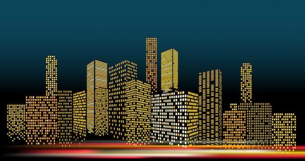Paisaje urbano moderno en el ejemplo del vector de la tarde. perspectiva de los edificios de la ciudad