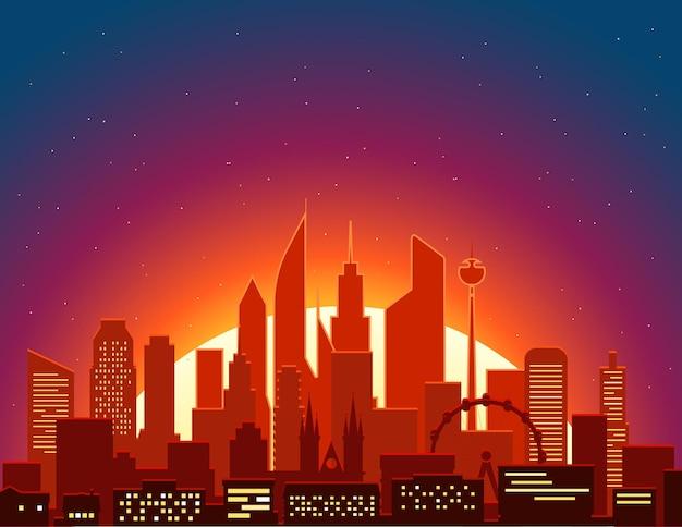 Paisaje urbano moderno en el illustartion del vector de la mañana. escena de la gran ciudad
