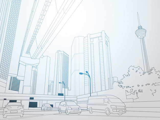 Paisaje urbano moderno de línea delgada con rascacielos