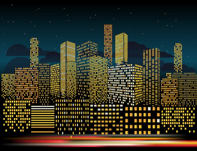 Paisaje urbano moderno en la noche