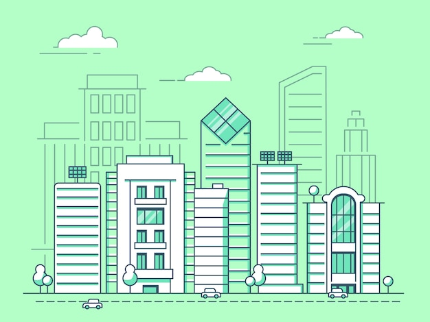 Paisaje urbano mono línea con edificios de negocios, construcción de arquitectura de contorno lineal.