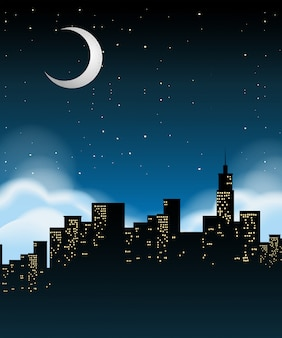Un paisaje urbano en la noche