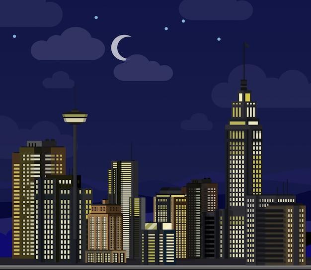 Paisaje urbano nocturno. rascacielos planos edificios modernos centro de oficinas de la ciudad, edificio de apartamentos hotel bloque residencial exterior ilustración urbana