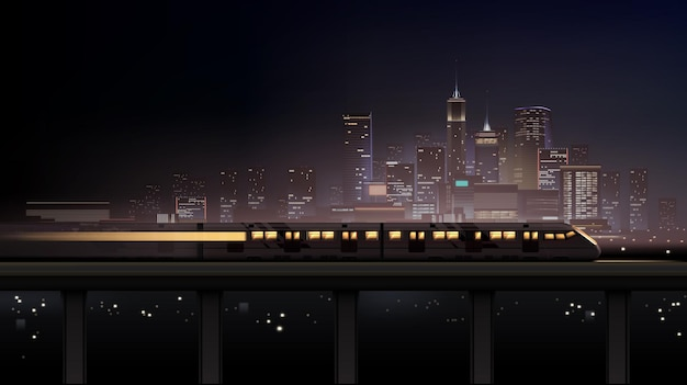 Paisaje urbano nocturno realista con rascacielos y tren en movimiento en el frente