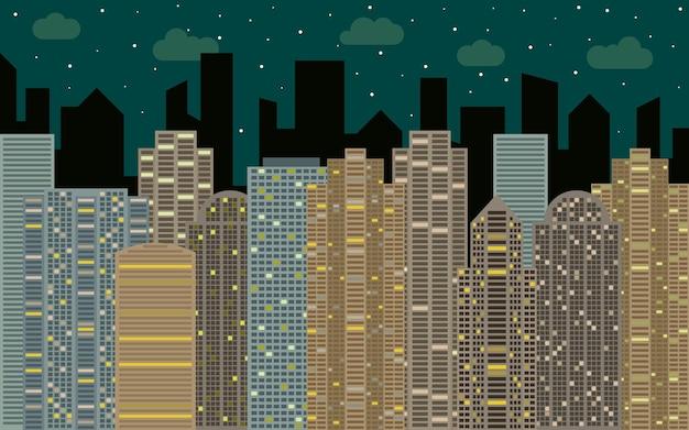 Paisaje urbano nocturno. vista a la calle con paisaje urbano, rascacielos y edificios modernos en un día soleado. espacio de la ciudad en concepto de fondo de estilo plano.