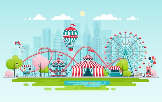 Paisaje urbano del parque de atracciones con carruseles, montaña rusa y globo aerostático.