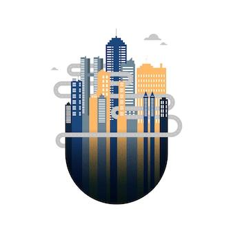 Paisaje urbano plano con edificios de oficinas