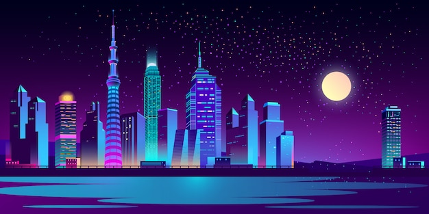 Paisaje urbano con rascacielos de neón.