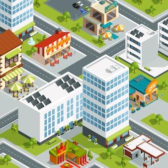 Paisaje urbano con restaurantes y cafeteras. ciudad del edificio del vector, ilustración isométrica urbana del mapa 3d