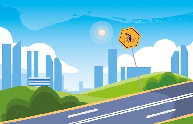 Paisaje urbano con señalización para ciclista