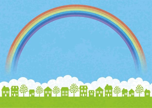 Paisaje urbano transparente con campo verde, cielo azul, nubes blancas, un arco iris y espacio de texto. ilustración de vector.