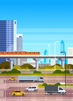 Paisaje urbano urbano moderno de la ilustración con el camino y el metro de la carretera sobre la opinión de los rascacielos