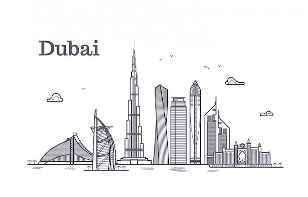Paisaje urbano de vector de línea detallada dubai con rascacielos