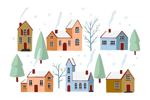 Paisaje de vacaciones de invierno. ilustración de la naturaleza, la ciudad, las casas, los árboles en las vacaciones de año nuevo y navidad.