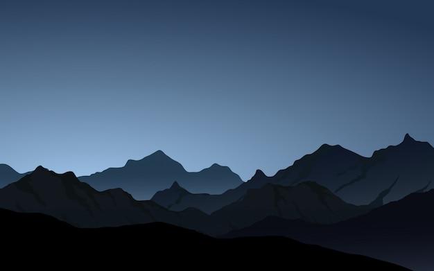 Paisaje de vector de cresta de montaña