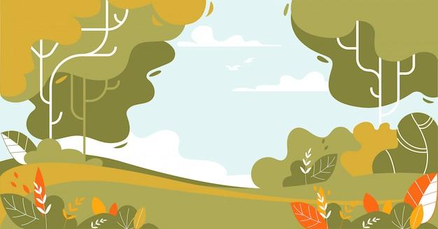 Paisaje de verano de bosque y prado verde
