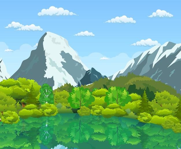 Paisaje de verano con bosque verde, río y montañas en un cielo nublado azul