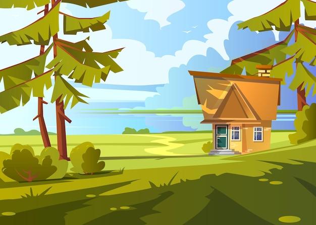 Paisaje de verano con casa de ladrillo en la orilla del lago