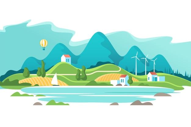 Paisaje de verano con casas en un lago de fondo y montañas del bosque. ilustración.