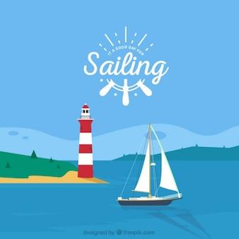 Paisaje de verano con un faro y un barco