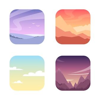 Paisaje de verano y fondo con montañas, colinas y prados con atardecer y amanecer en estilo plano