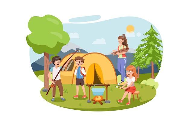 Paisaje de verano con niños. campamento de niños