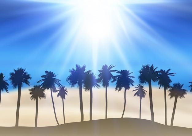 Paisaje de verano con siluetas de palmeras