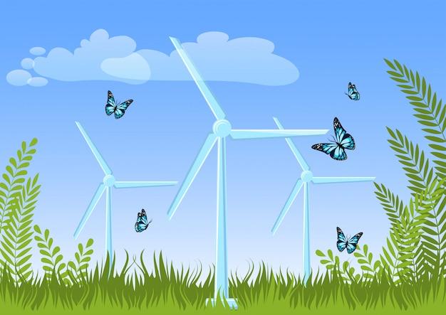 Paisaje de verano con turbinas eólicas, plantas verdes, césped, mariposas volando, cielo y nubes.