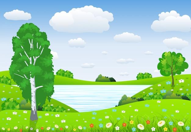Paisaje verde con árboles nubes flores
