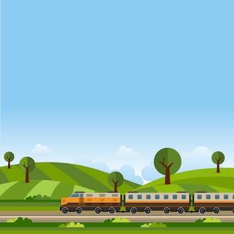 Paisaje verde colina de la montaña cuando el tren pasa