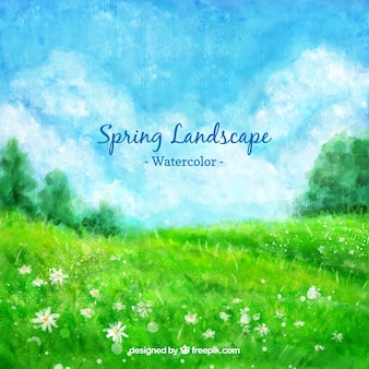 Paisaje verde primaveral de acuarela