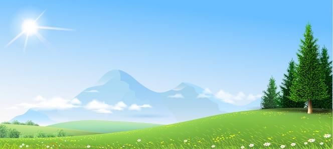 Paisaje verdes colinas montañas bosque