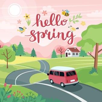 Paisaje de viaje por carretera de primavera con un lindo coche en la carretera y letras