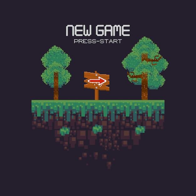 Paisaje de videojuegos retro con terreno pixelado