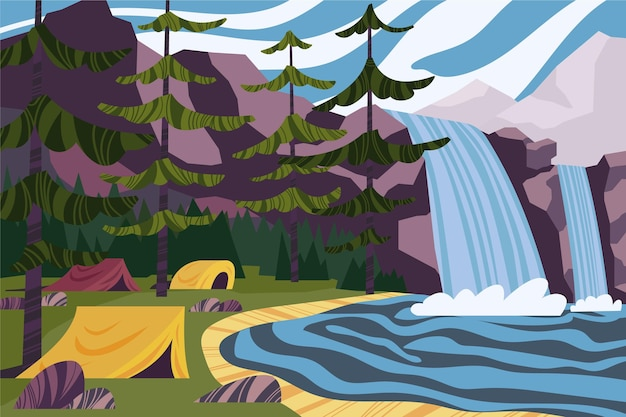 Paisaje de zona de acampada con cascadas.