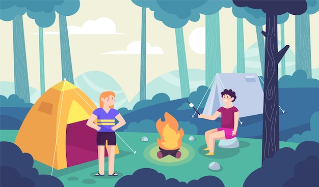 Paisaje de zona de camping con árboles.
