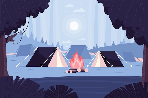 Paisaje de zona de camping de diseño plano con carpas.