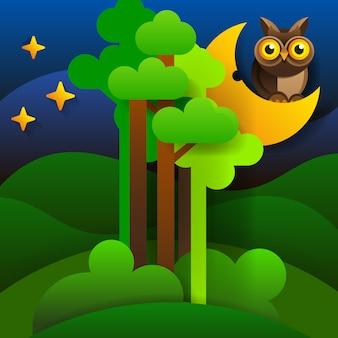 Paisajes del bosque. silueta de bosque en el cielo nocturno. vector